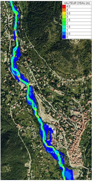 Premiers résultats de hauteur d'eau simulée sur le Boréon au niveau du village de Saint-Martin-Vésubie