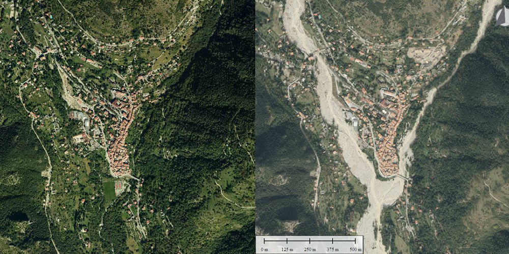 The Boréon at its confluence with the Vésubie in 2014 (left) and in 2020 post-Alex (right).